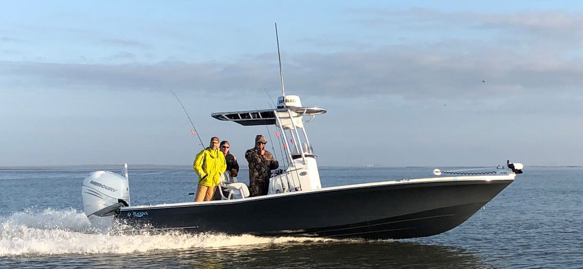 Captain Jay fishes on a 256 Blackjack with a 400 Mercury, Lowrance electronics/radar, Blade Powerpole and Minn Kota troll motor.